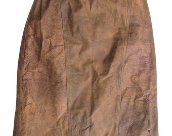 Winlit Distressed Brown Leather Skirt 9/10 1980s