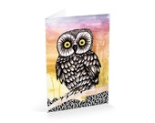 Owl greeting card-A6 sized blank greeting card-hand cut-hand scored and folded
