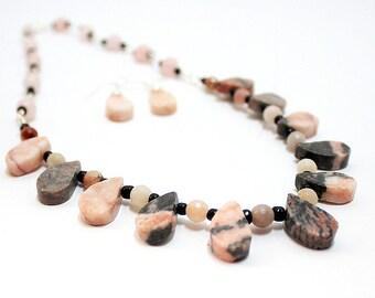 Zebra Jasper Necklace- Tribal Necklace- Wire Wrap Necklace- Statement Necklace- Necklace Earring Set