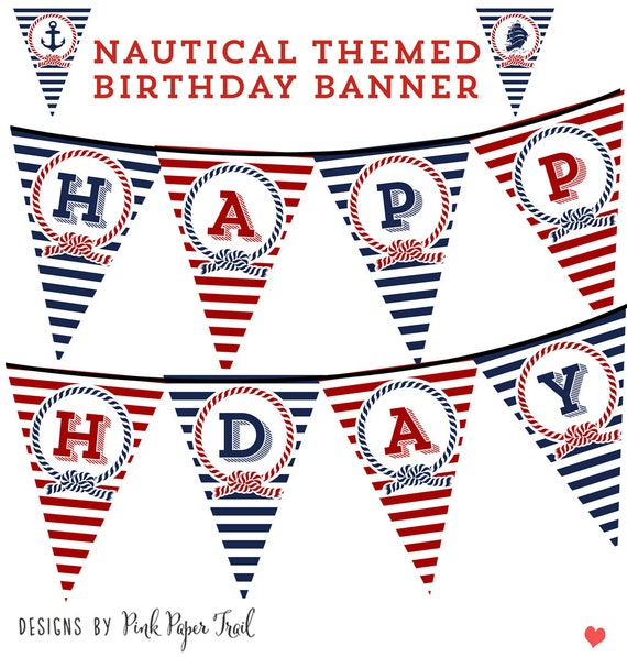 Nautical Happy Birthday Banner Bunting Pennant Print your own