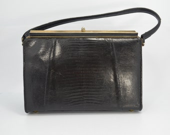 Vintage Kelly Bag 1950s Handbag Black Lizard Skin Purse with Gold Metal Frame Slightly Damaged Good Price