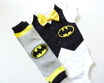 BatmanTuxedo Bodysuit Vest with Removable Matching Bow Tie and Matching Leg Warmers