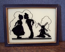 Vintage Reverse Glass  Silhouette of Dutch Girl and Boy Windmill
