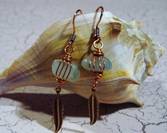 Aquamarine and Copper Leaf Earrings Free US Shipping