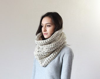 Large Chunky Cowl.Thermal Textured Scarf. snood infinity scarf // The Chartres - OATMEAL
