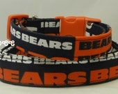 Dog Collar READY to SHIP Chicago Bears NFL Football Orange & Navy Sports Team Adjustable Collars D Ring Handmade Accessory Pets Accessories