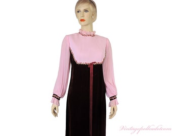 Vintage Dress Velvet Pink and Maroon Maxi with Flower Trim Satin Bow