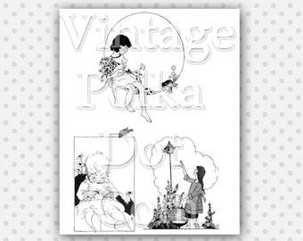 Clip Art Garden Bird House Baby Children Flowers Vintage Graphics Collage Digital Instant Download Scrapbooking Print Art Craft