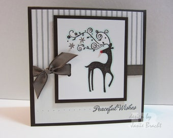 Reindeer - Peaceful Wishes - Hand Stamped Greeting Card