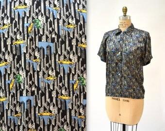 90s Vintage Nicole Miller Silk Shirt NYC New York City Godzilla Print Size Medium Large