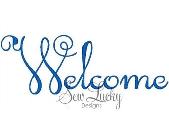 Welcome Embroidery Design - Machine Embroidery Design - Welcome -  Greeting Design - Fill Stitch Design - Word Design