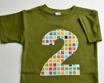 Size 2 2T Boys Number 2 Shirt Boys #2 Shirt, Boy Second Birthday Shirt, Boys 2nd Birthday Shirt, Olive Green, Geometric Print