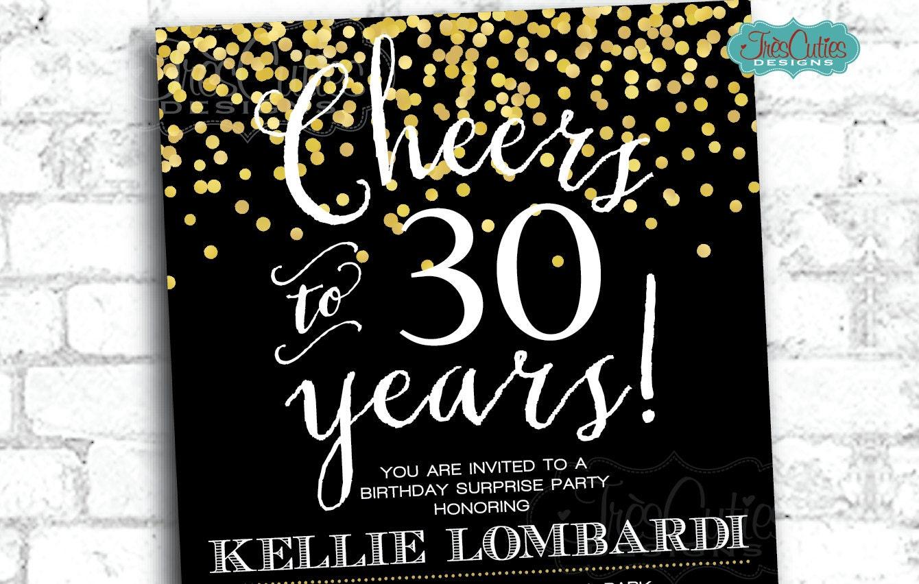 Cheers To 30 Years 30 Birthday Invitation Gold Confetti