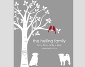 Personalized Dog Gifts, Personalized Christmas Gifts, Custom Family Tree, Dog Lover Gifts, Family Tree Wall Art, Christmas Gift for Wife