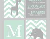 "Mint and Grey Nursery Elephant Nursery Winnie the Pooh Quote Always Remember You are Braver Elephant Giraffe Nursery Set of four 8""x10""s"