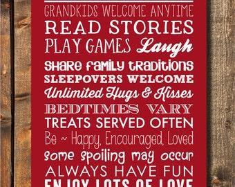 "Personalized Gift for Grandparents Grandma Rules Personalized Grandma Gift Mothers Day Gift for Mom New Grandma Gift 11""x14"""