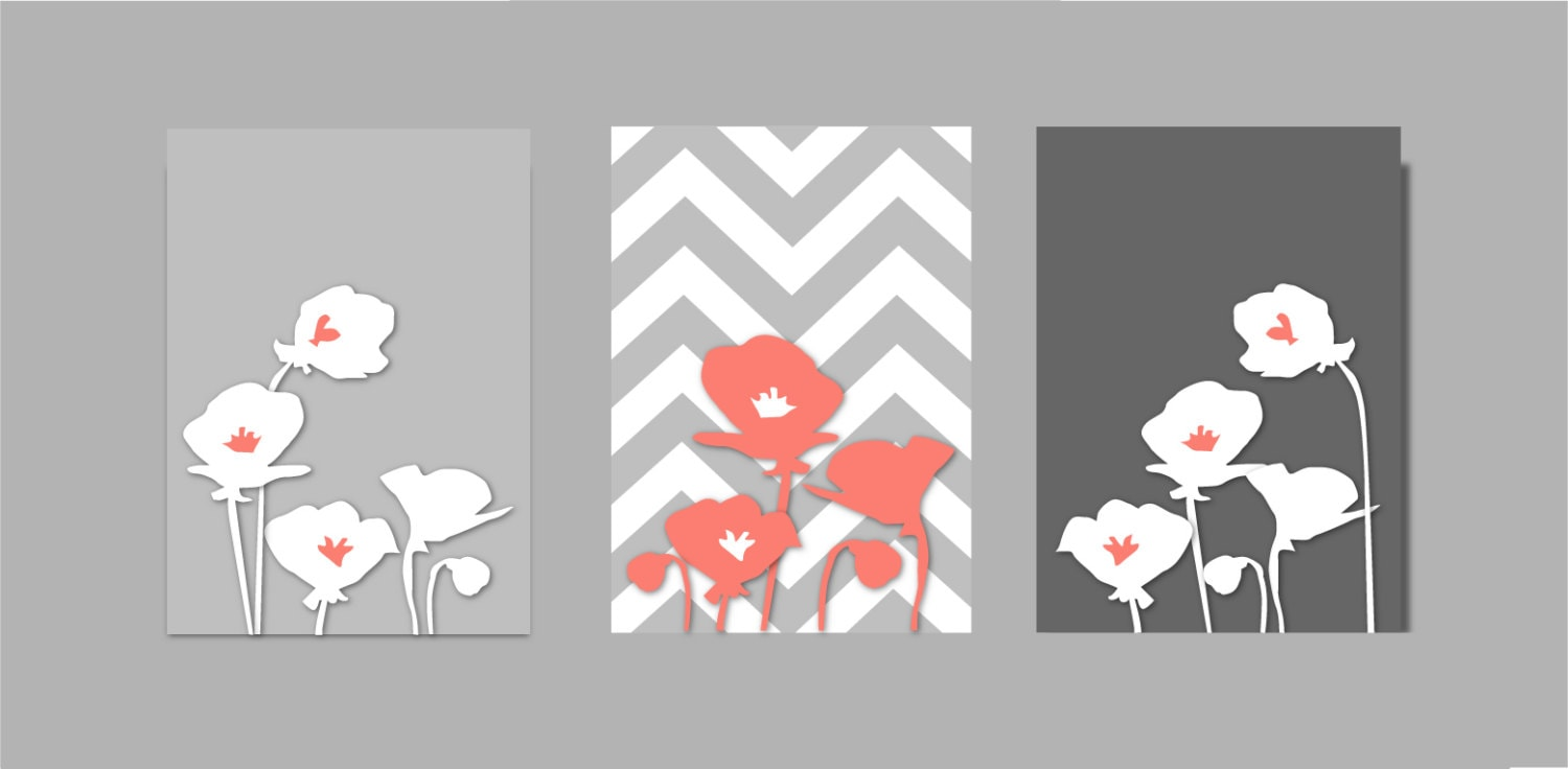 coral and gray bathroom coral and grey botanical prints art. Black Bedroom Furniture Sets. Home Design Ideas