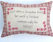 Great Grandma Embroidered Pillow - Salmon