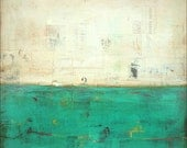 """Abstract Art Print: Mixed Media print, Contemporary Art, Vintage Inspired, 5x5 (127mm), 8x8 (203mm) or 12x12 (305mm),Teal Turquoise, """"Lucid"""""""