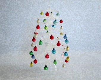 Vintage Mini Christmas Tree, Crystal Pine Holiday Tree, Tabletop Tree with Ornaments, Dollhouse Diorama House Mini, Vintage Christmas Tree