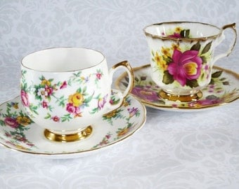 Pair of Vintage Tea Cups and Saucers Floral Chintz , Old Rose Pattern Teacups and Saucers,  Two English Cups and Saucers