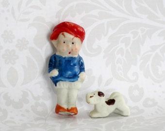 Frozen Charlotte Doll w Dog  /  Vintage Japan 50s Bisque Doll with Dog  /   Matchbox Mini Kawaii Cutie Doll  SwirlingOrange11