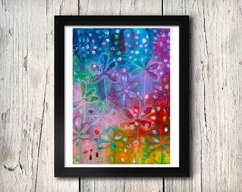 Dream Garden - Mixed Media Floral Print