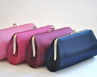 Set of 6-Simple Satin clutches in Medium size / Bridesmaid clutches / Wedding clutches - Custom Color