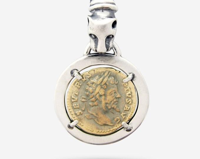 Sterling Silver & Gold Emperor Septimius Severus Coin Replica Pendant