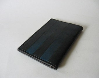 ARS Tallinn exotic vintage ombre striped blue black leather wallet Morocco India stitch detail