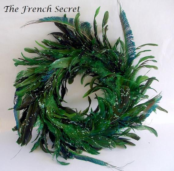 Items similar to christmas peacock feather wreath