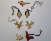 Cracker Jack Toy Birds 1940's Vintage Celluloid Plastic