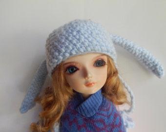 BJD Bunny Hat, MSD, Minifee Bunny Hat, Yosd Bunny Hat, Littlefee Bunny Hat, Bjd Rabbit Hat, Crocheted Bjd Bunny Hat, Lop-Eared Bjd Bunny Hat