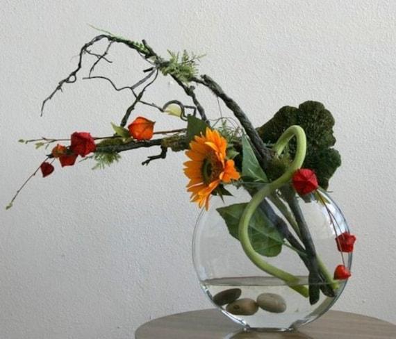 Modern Ikebana Silk Arrangement Contemporay Zen Sun Flower