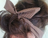 Brown Polka Dots Dolly Bow Wire Headband Brown Rockabilly Pin Up Hair Accessory for Teens Women Girls