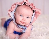 Faded Denim and Lace Keyhole Baby Bonnet...Great for Photo Shoots, Day at the Beach or A Walk in the Park