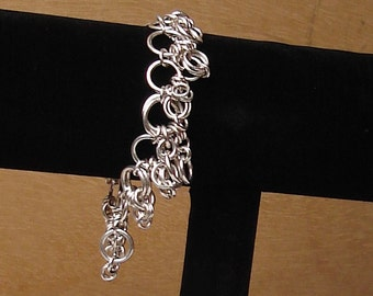 Ring Charmed Sterling Silver Chainmail Bracelet
