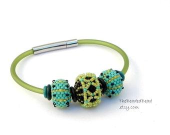 Beaded Bead Bracelet by Sharri Moroshok - turquoise black lime green