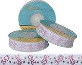Breast Cancer Awareness Ribbons on White Fold Over Elastic - 5 YARDS