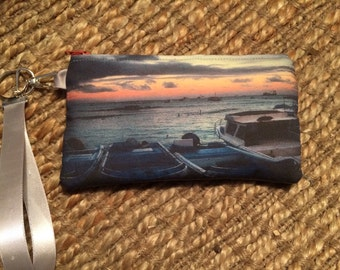 Wristlet Zipper Pouch: Galapagos Boats