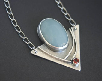 Amazonite and Fire Citrine Modern Edgy Necklace in Sterling Silver One of a Kind