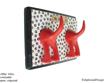 Dog Leash Holder  - Double Tail -  Little Paws - Personalize with optional letter tiles