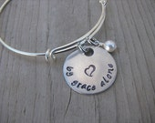 "Inspiration Bracelet- Hand-Stamped ""by grace alone"" with stamped heart- Bracelet with an accent bead in your choice of colors"