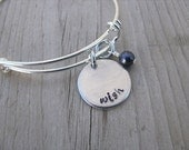 "Inspiration Bracelet- Hand-Stamped ""wish"" Bracelet with an accent bead in your choice of colors"