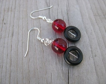 Red and Black- Beaded Earrings- Wood and Glass