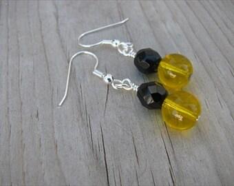 Yellow, Black Beaded Earrings