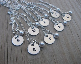 Personalized Bridesmaids Necklaces- (8) Necklaces- Hand-Stamped Initials with a pearl on each- set of 8