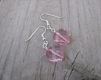 Pale Pink Glass- Beaded Earrings