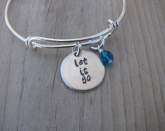 """Inspiration Bracelet- Hand-Stamped """"let it go"""" Bracelet with an accent bead in your choice of colors"""
