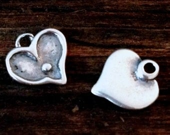 Sterling Silver Heart Charms - 2 Sweet lil Darlings - 9.7mm tall  C166